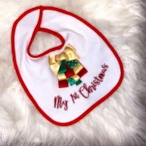 NWOT! Baby Essentials My First Christmas Bib OS
